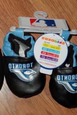 1 pair slipper booties  6-12m ~ Toronto Blue Jays ~ by Skidd