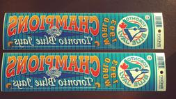2 1993 TORONTO BLUE JAYS WORLD CHAMPIONS BUMPER STICKER LOT