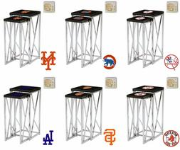 Nesting End Table Set MLB Black Laminate w/Chrome and Team L