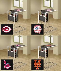 TV Tray Magazine Rack MLB Black Glass Shelf Chrome Baseball