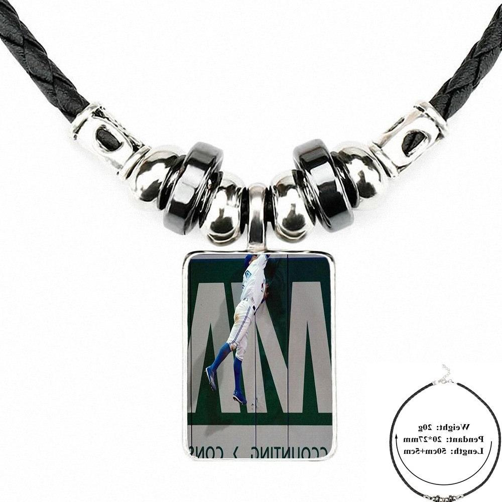 For Women Kids Black Leather Bead <font><b>Pendant</b></font> Jewelry Fashion <font><b>Necklace</b></font> <font><b>Toronto</b></font> Baseball
