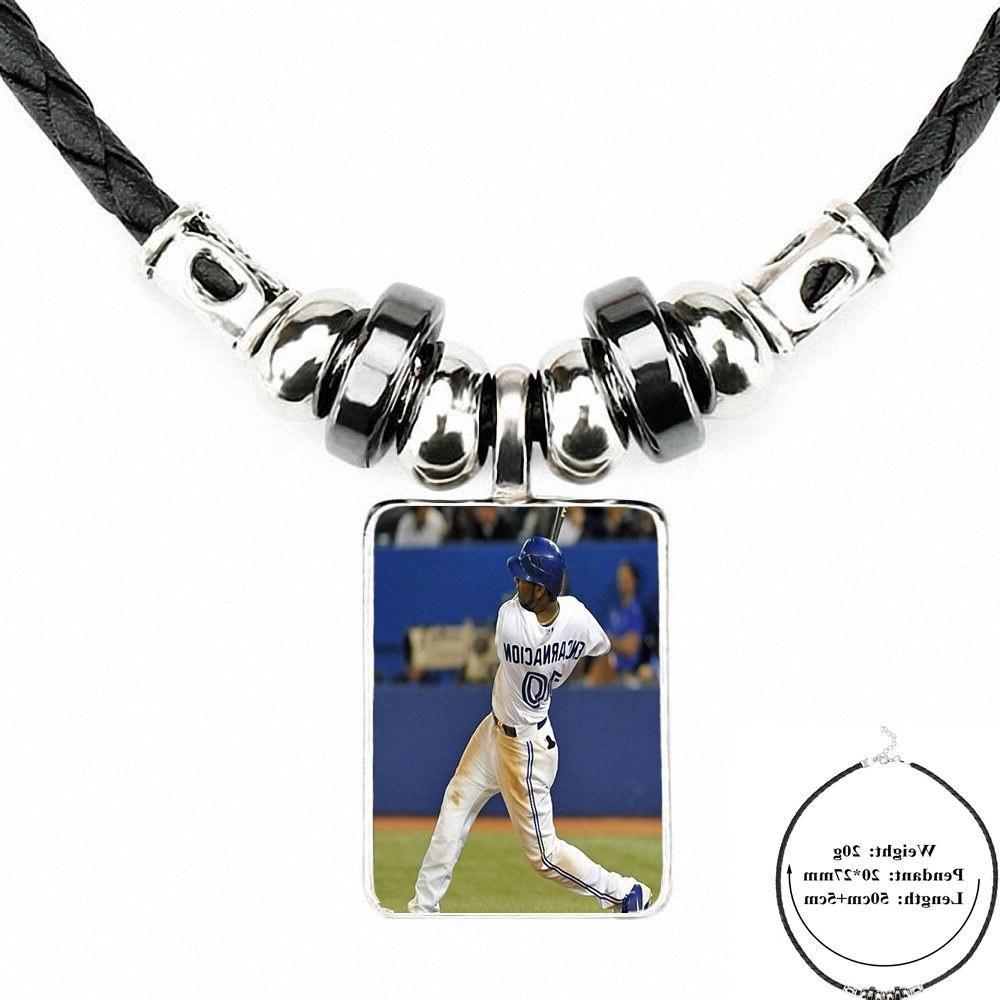 For Leather <font><b>Necklace</b></font> Jewelry Fashion Handmade Statement <font><b>Necklace</b></font> <font><b>Blue</b></font> Baseball