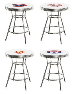 MLB Bar Table White and Chrome w/Team Logo Vinyl Decal and a