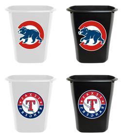 3 Gallon Trash Can Black or White Plastic MLB Baseball Team