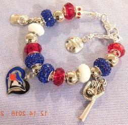 MLB TORONTO BLUE JAYS Crystal Team Charm Bracelet FREE USA S