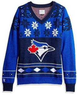 MLB Toronto Blue Jays Ladies V-Neck Christmas Sweater Small