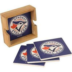 Toronto Blue Jays 4-Pack Square Coaster Set with Caddy