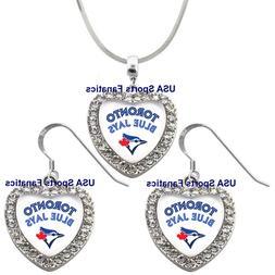 Toronto Blue Jays 925 Necklace / Earrings or Set Team Heart