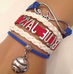 Toronto Blue Jays Leather Baseball Bracelet MLB Charm Qualit