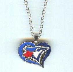 TORONTO BLUE JAYS Heart, MLB Charm, Pendant with .925 Silver