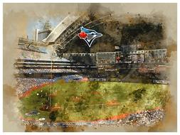 Toronto Blue Jays Poster Watercolor Art Print Man Cave Decor