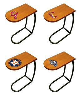 MLB TV Tray End Table Oak Finish Slide-Under Couch with Base